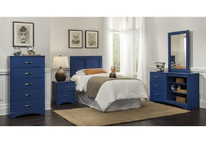 Royal Blue Dresser & Mirror